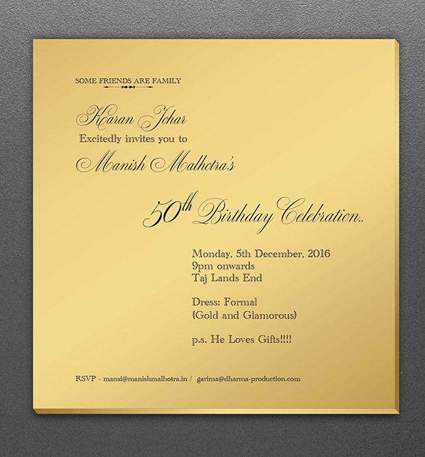 Check out Karan Johar's specially designed 'golden invite' for Manish Malhotra