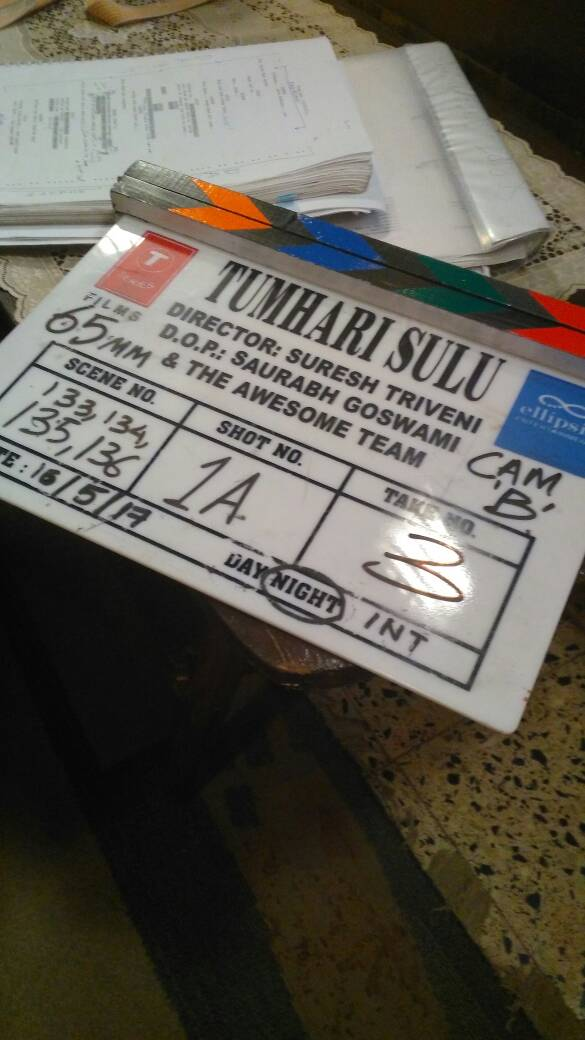 Director of Tumhari Sulu credits the entire team on the clapper board of the film