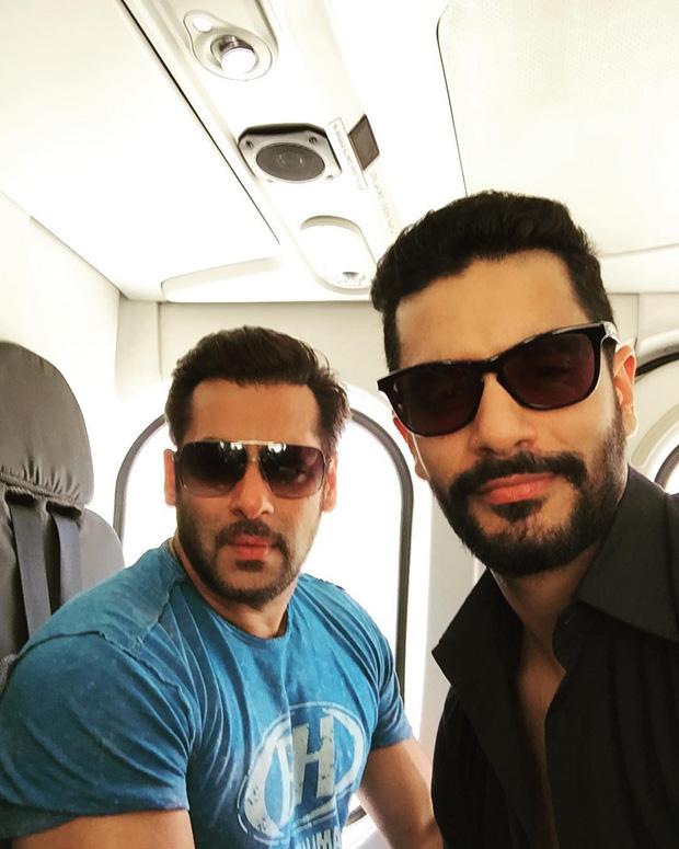 Salman Khan and Angad Bedi go on a chopper ride feature