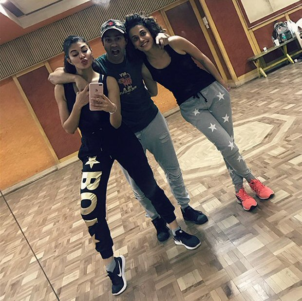 Check out Varun Dhawan, Jacqueline Fernandez and Taapsee Pannu begin rehearsals for 'Tan Tana Tan' for Judwaa 2