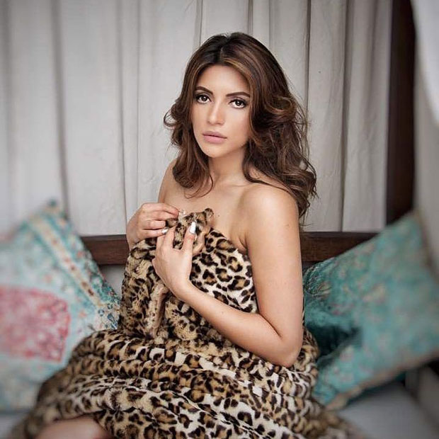 Shama Sikander poses only in an animal print sheet