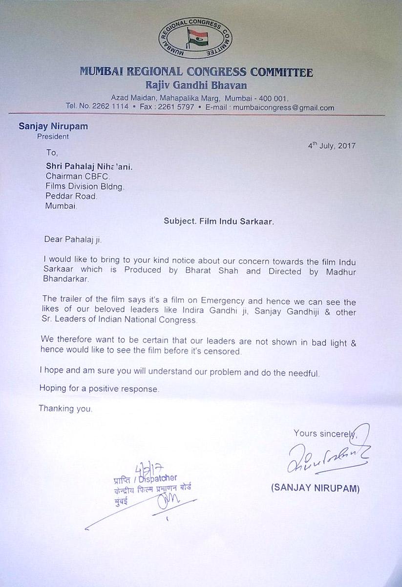 Congress leader Sanjay Nirupam writes to CBFC chairman Pahlaj Nihalani asking for watch Indu Sarkar before it is censored
