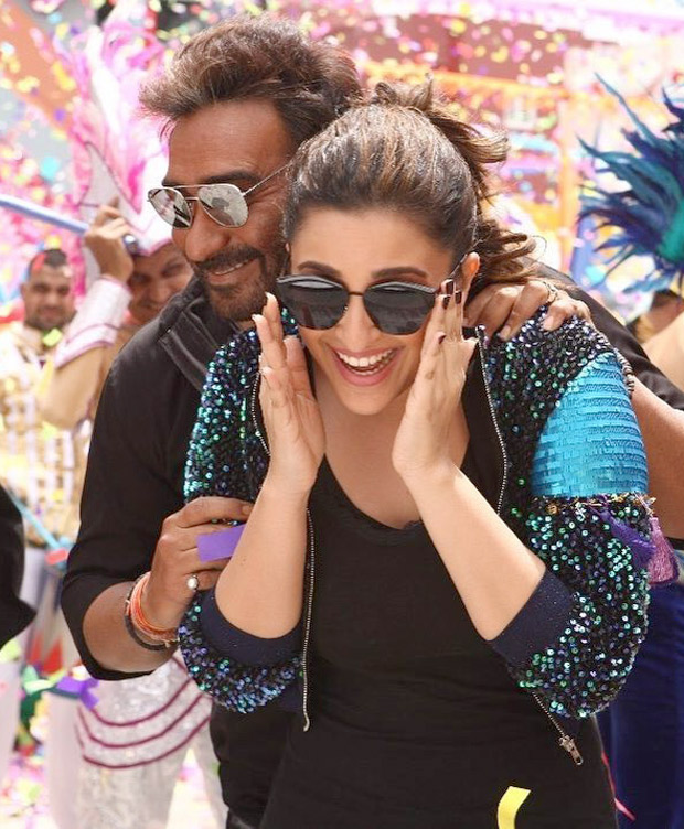 Check out Parineeti Chopra and Ajay Devgn caught in a candid moment shooting for Golmaal Again title track