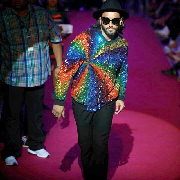 Check out Ranveer Singh added more sparkle and colour with his rainbow jacket at the Lakme Fashion Week 2017 (4)