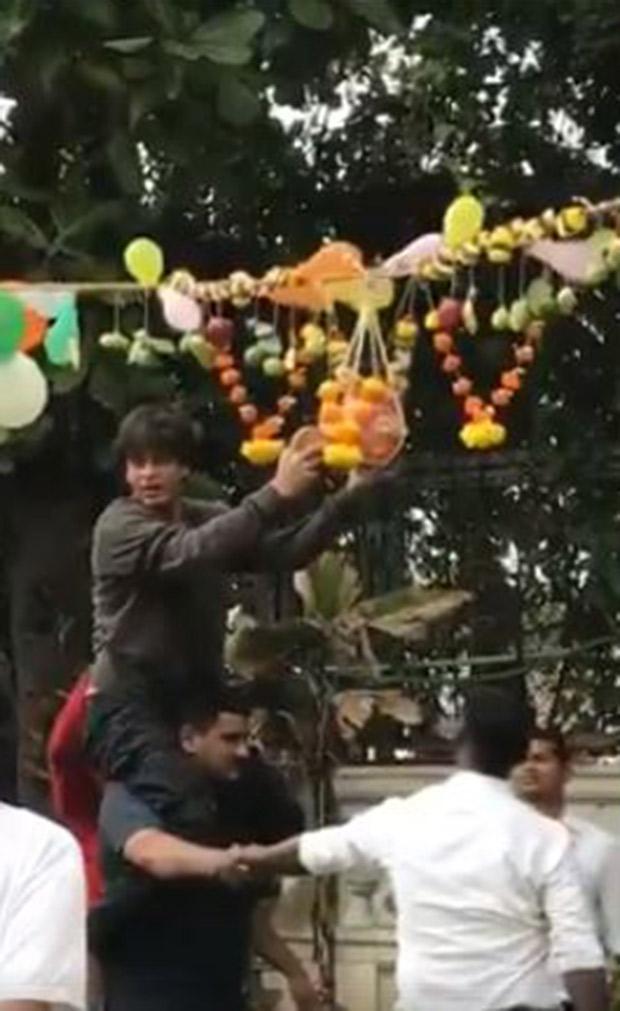 WATCH Shah Rukh Khan breaks Dahi Handi during Janmashtami celebrations