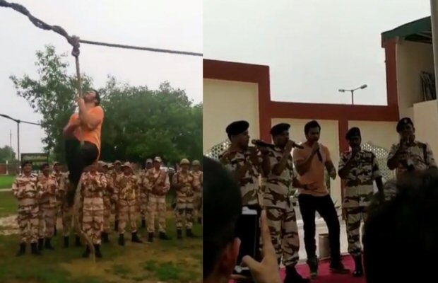 WOW! Varun Dhawan does rope climbing, sings with soldiers