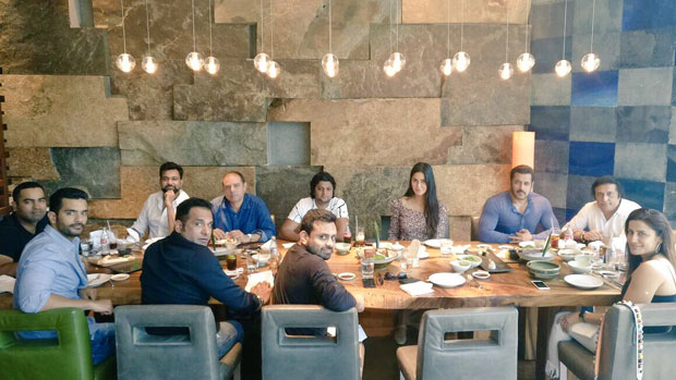 Salman Khan and Katrina Kaif enjoy a meal with the team of Tiger Zinda Hai