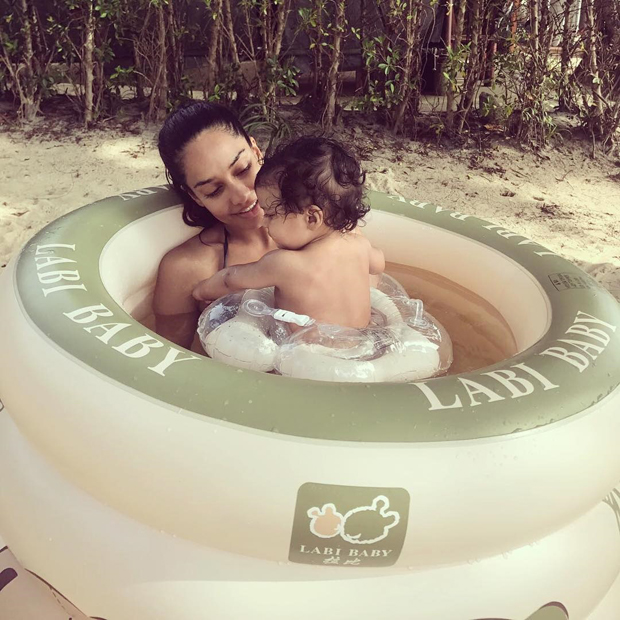 Check out Lisa Haydon joins her son Zack in his first swimming class