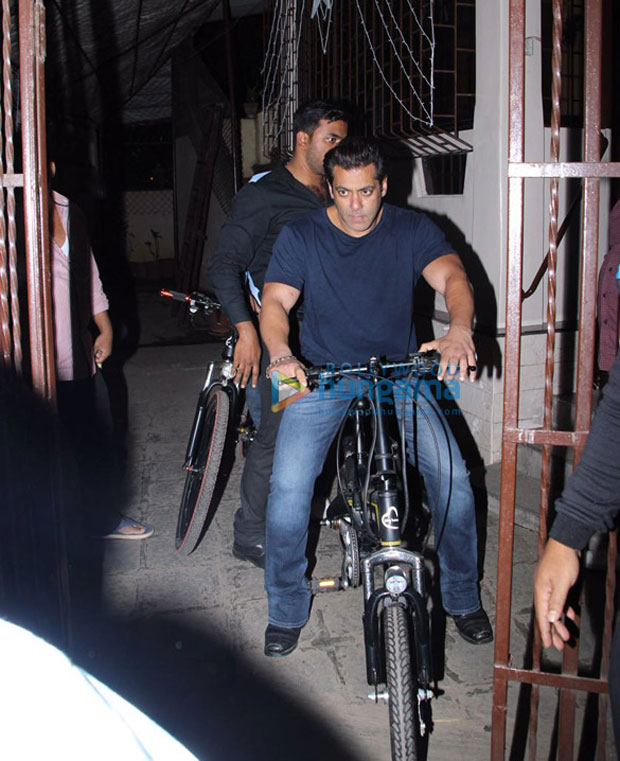 Check out Salman Khan takes a night ride on his Being Human cycle