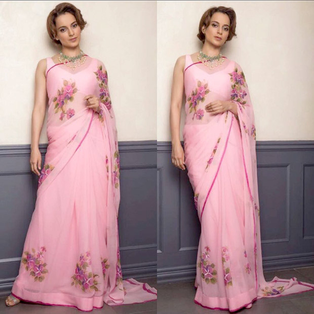 Daily Style Pill Kangana Ranaut has a flirty affair with a hot pink chiffon saree and here's why we love it! (2)