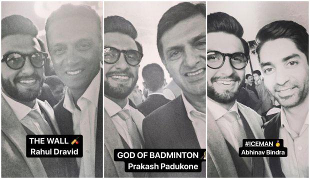 Ranveer Singh strikes a pose with Deepika Padukone's dad Prakash Padukone; meets Abhinav Bindra, Rahul Dravid and others! (7)