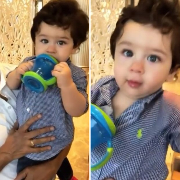 WATCH Jacqueline Fernandez bumps into baby Taimur Ali Khan; he tries to take away her phone (1)