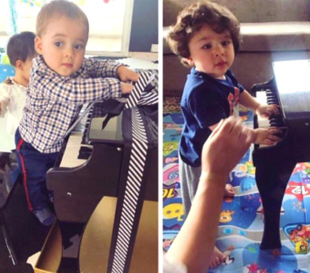 ADORABLE! Taimur Ali Khan and Yash Johar they try their hands on the piano