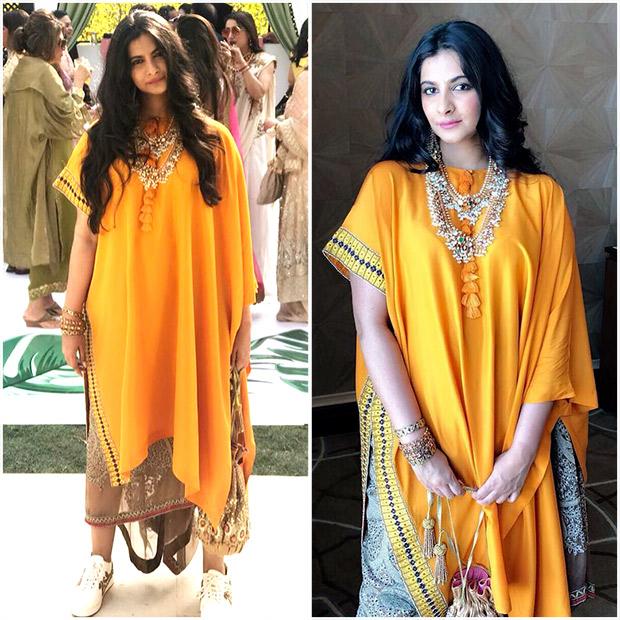Rhea Kapoor in a Anamika Khanna ensemble at the pre-wedding festivities of Mohit Marwah and Antara Motiwala