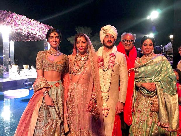 Sridevi Kapoor and Khushi Kapoor with Boney Kapoor at the Mohit Marwah and Antara Motiwala wedding