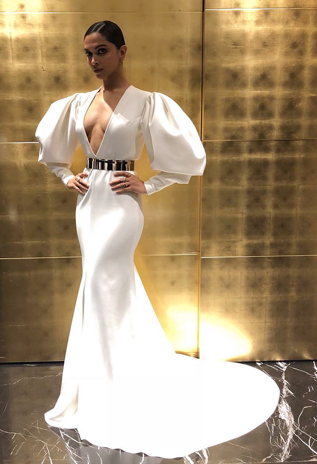Deepika Padukone in a Falguni and Shane Peacock white gown at the Hello! Hall Of Fame Awards 2018