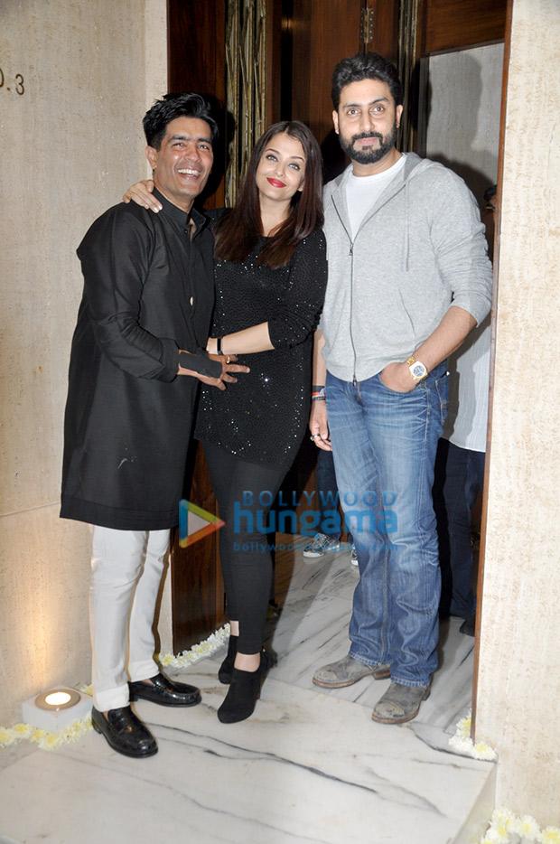 Aishwarya Rai Bachchan and Abhishek Bachchan with Manish Malhotra