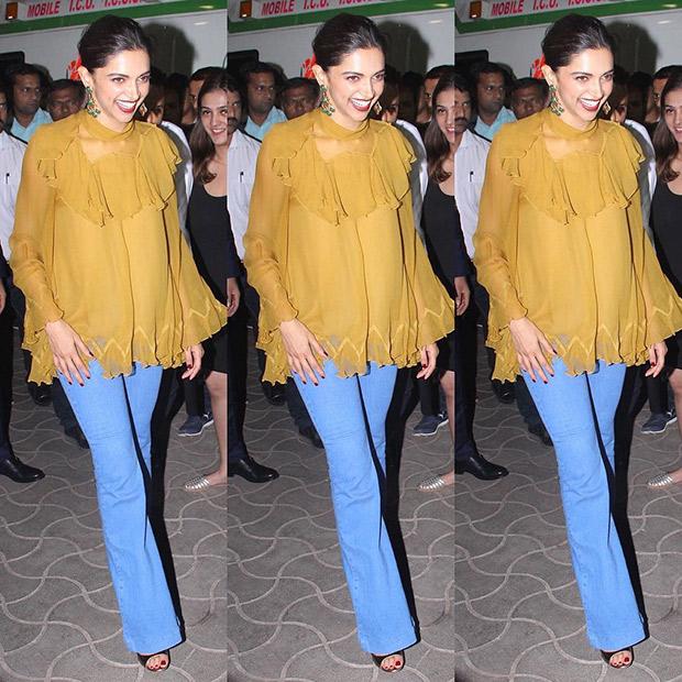 Deepika Padukone in Chloe blouse and Stella McCartney flared denim