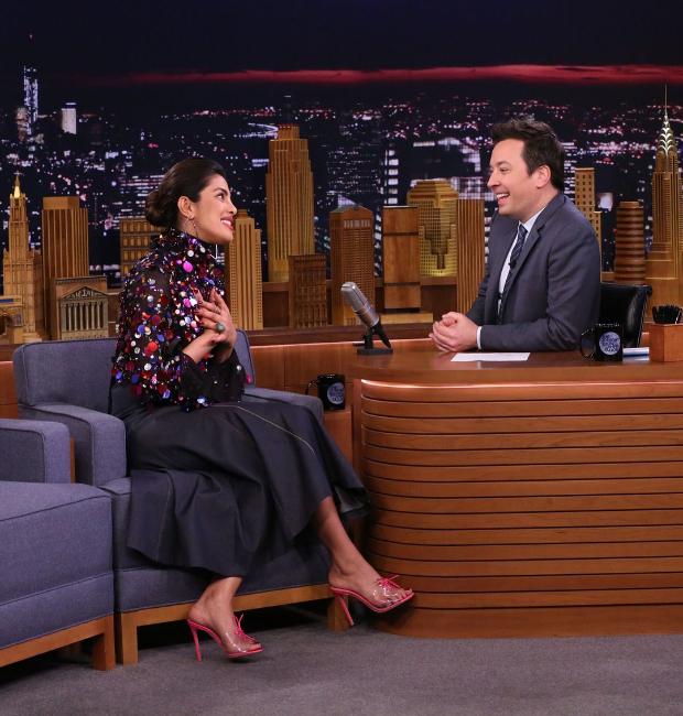 Priyanka Chopra with Jimmy Fallon