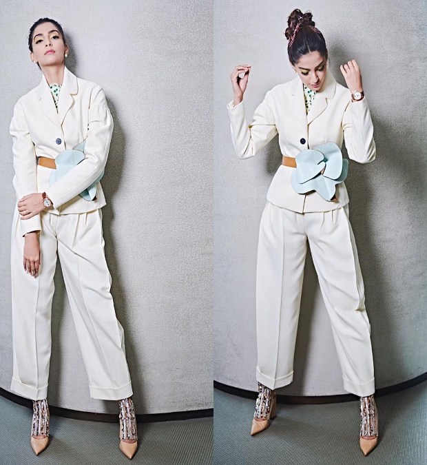 Sonam Kapoor in a Delpozo suit from their Fall Winter 2018 collection