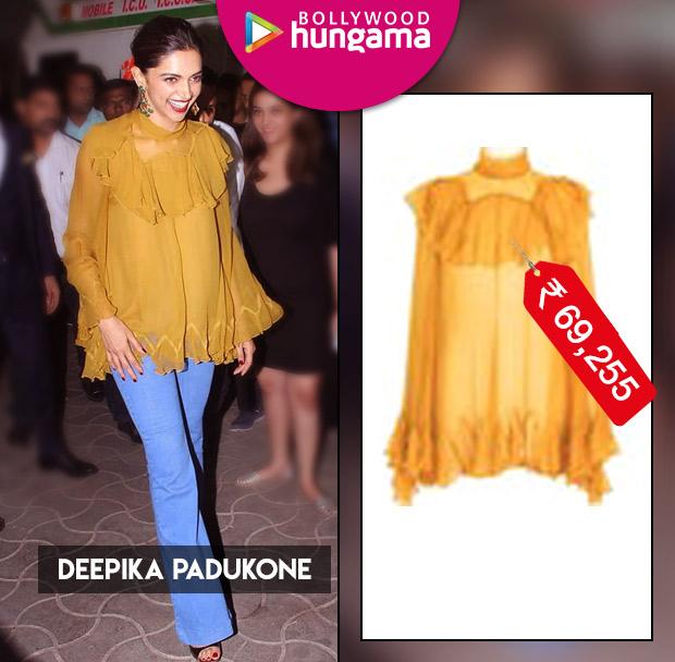 Weekly Celebrity Splurges - Deepika Padukone in yellow Chloe blouse