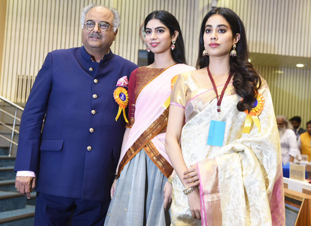 Boney Kapoor, Janhvi Kapoor and Khushi Kapoor receive Best Actress Award for Mom on behalf of late Sridevi