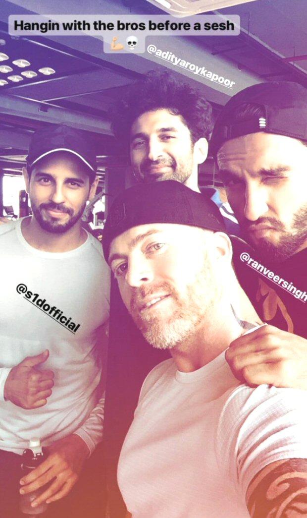 PHOTO ALERT Ranveer Singh, Sidharth Malhotra, and Aditya Roy Kapoor turn workout buddies