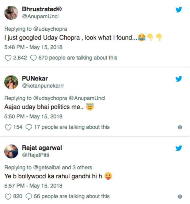 Uday Chopra gets TROLLED for his all guns blazing tweets on Karanataka elections