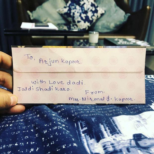 'Jaldi Shaadi Karo'- Arjun Kapoor shares a hilarious note sent by his grandmother