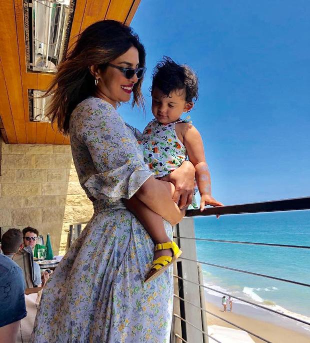 Priyanka Chopra twinning in florals with her niece Sky Krishna