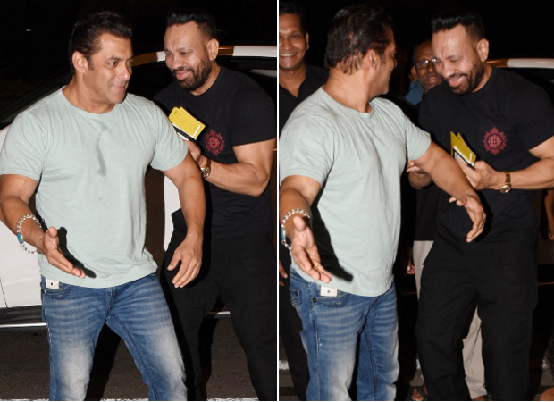 Salman Khan pokes fun at his bodyguard Shera while leaving for Dabangg Tour Reloaded at the airport