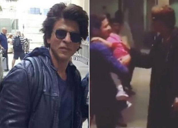 WATCH: This sweet moment between Shah Rukh Khan giving a kiss to a toddler at the airport is adorable