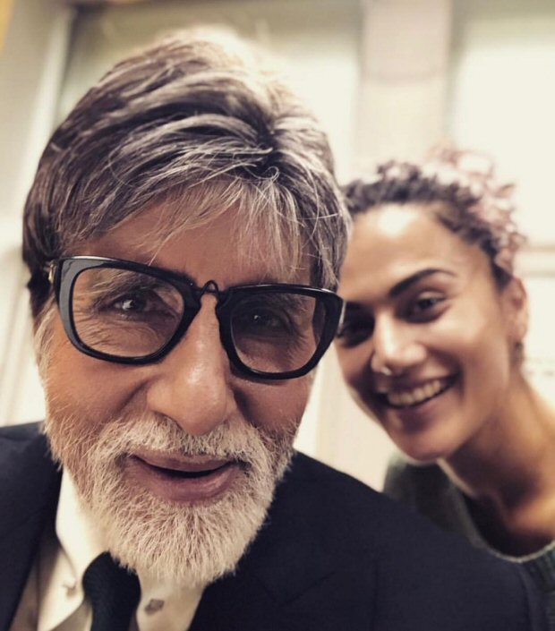 Amitabh Bachchan and Taapsee Pannu on the sets of BADLA remind us of their PINK days!