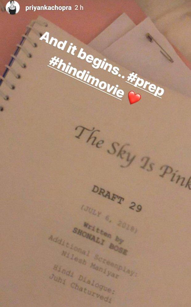 Priyanka Chopra begins prep for her next Hindi film with Shonali Bose titled The Sky Is Pink