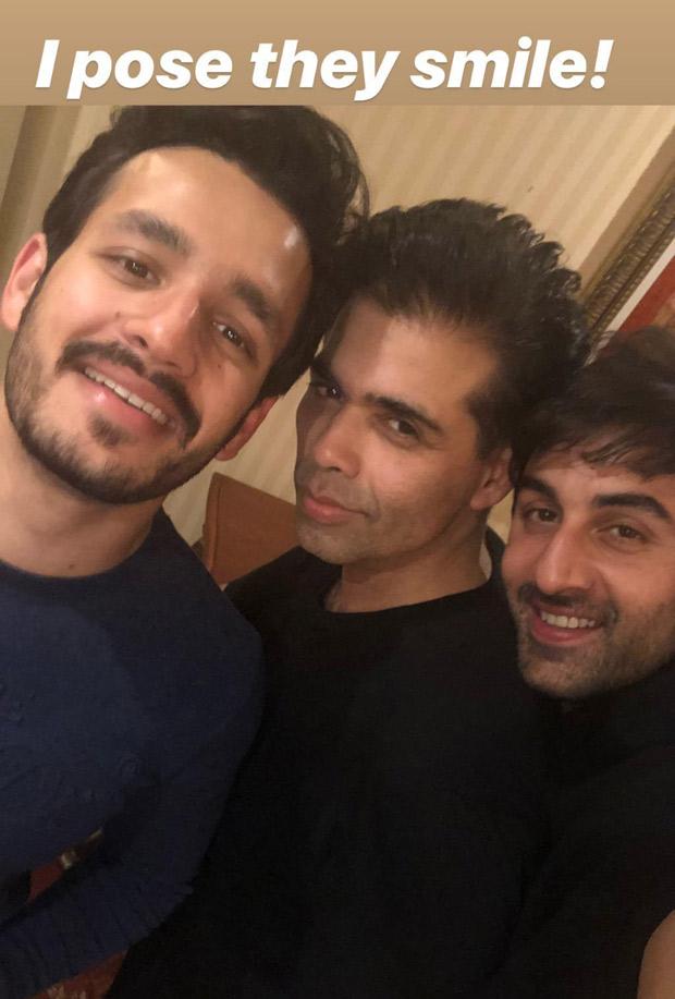 Brahmastra Nagarjuna's son Akhil Akkineni poses with Ranbir Kapoor and Karan Johar