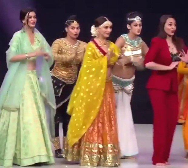 Madhuri Dixit recreates 'Choli Ke Peeche' with Happy Phirr Bhag Jayegi stars Sonakshi Sinha and Diana Penty