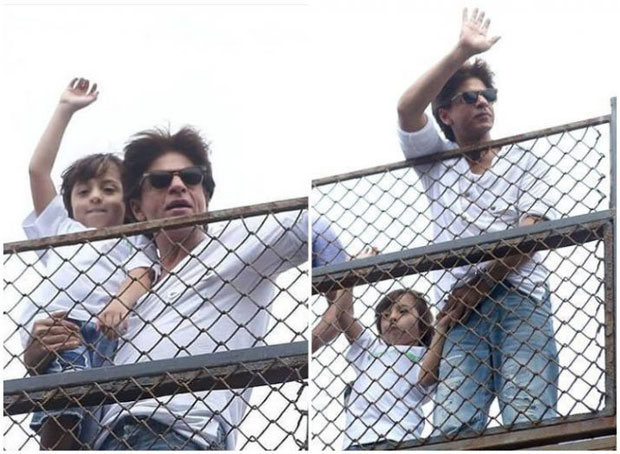 Pics & Video: Shah Rukh Khan and AbRam drive fans crazy after their customary Eid greeting at Mannat