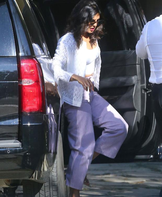 Priyanka Chopra in Aritzia and Nanushka at Beverly Hills (4)