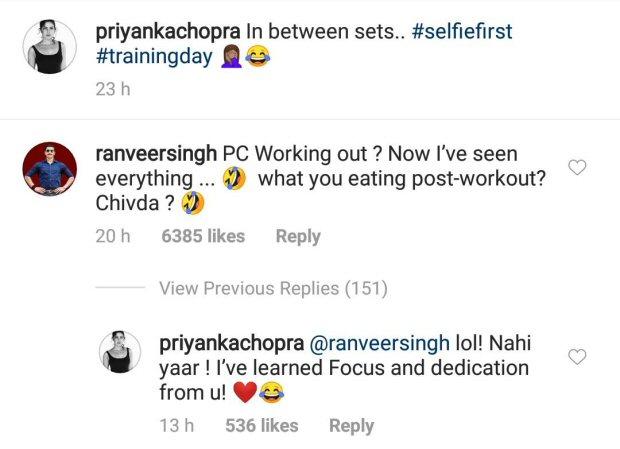 Ranveer Singh makes fun of Priyanka Chopra's gym selfie and it is totally friendship goals