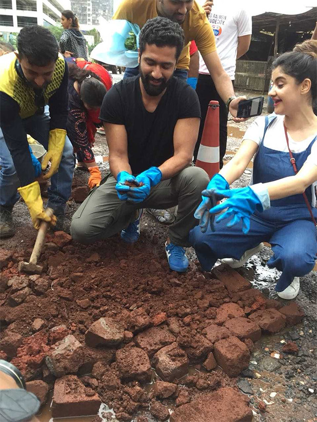 Sanju actor Vicky Kaushal fills potholes in Mumbai in an appeal for better roads