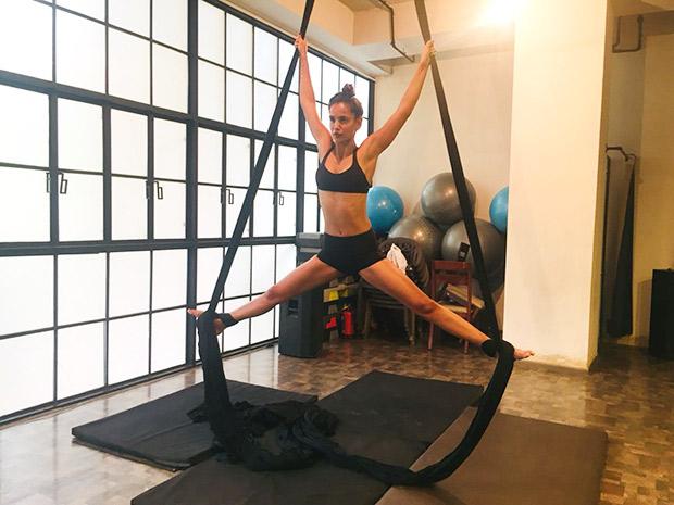 Satyameva Jayate actress Aisha Sharma takes up aerial yoga