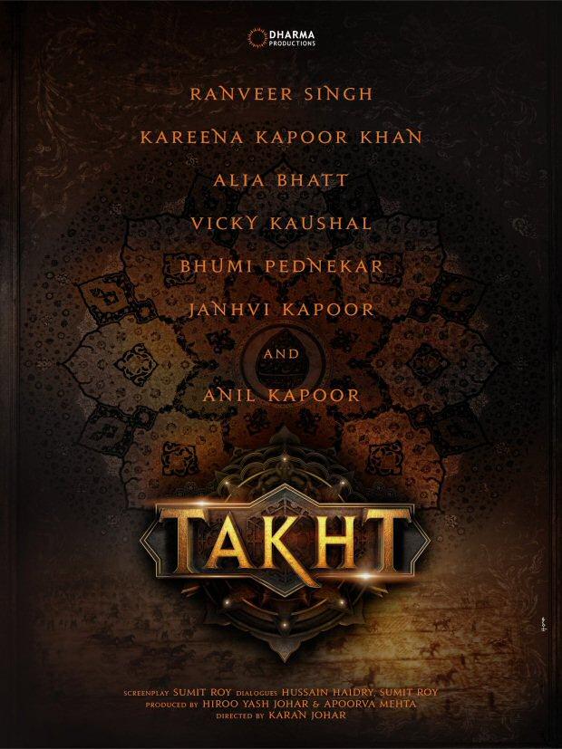 BREAKING! Ranveer Singh, Kareena Kapoor Khan, Alia Bhatt, Janhvi Kapoor, Bhumi Pednekar and Anil Kapoor in Karan Johar's TAKHT