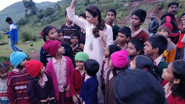 CUTE! Rakul Preet Singh kicks off her pre birthday celebrations with these kids as she distributes chocolates to all