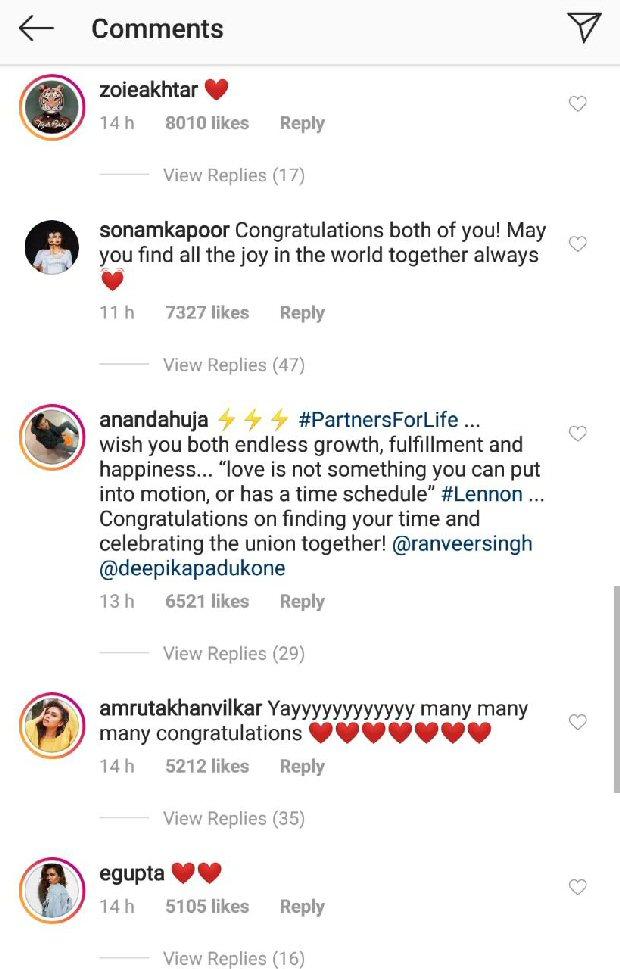 Ranveer Singh - Deepika Padukone share first pictures from their wedding, Anushka Sharma, Sonam Kapoor, Karan Johar shower them with love