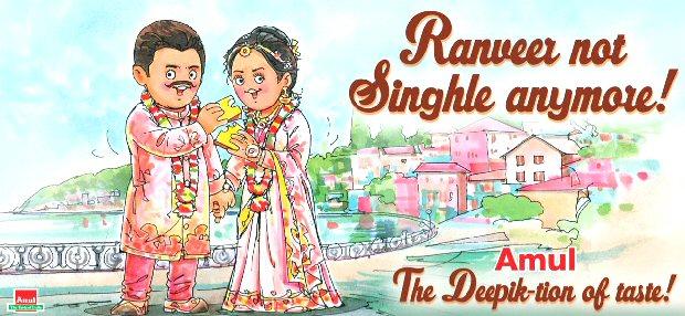 Ranveer Singh and Deepika Padukone's wedding inspires Amul to create yet another relevant toon