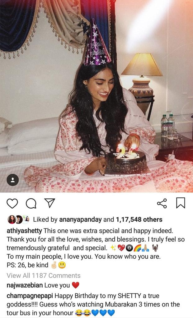 Rapper Drake calls Athiya Shetty a GODDESS on her birthday; reveals he has watched Mubarakan 3 times