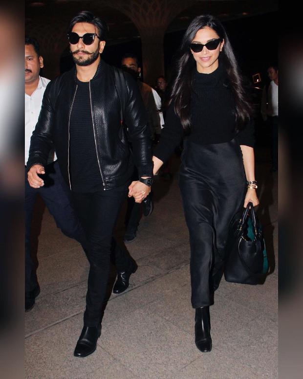 Deepika Padukone and Ranveer Singh twinning in black at the airport (1)