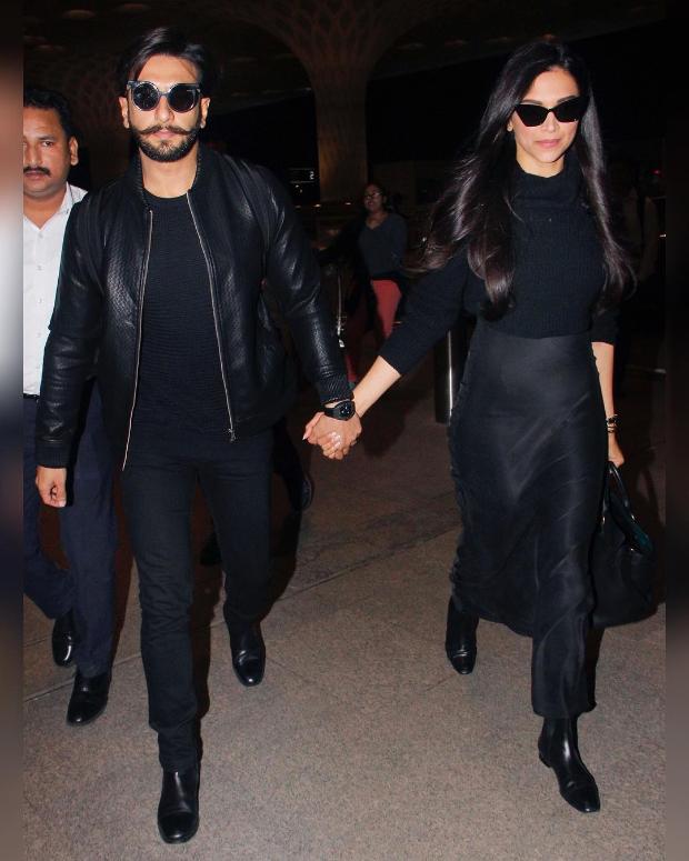 Deepika Padukone and Ranveer Singh twinning in black at the airport (2)