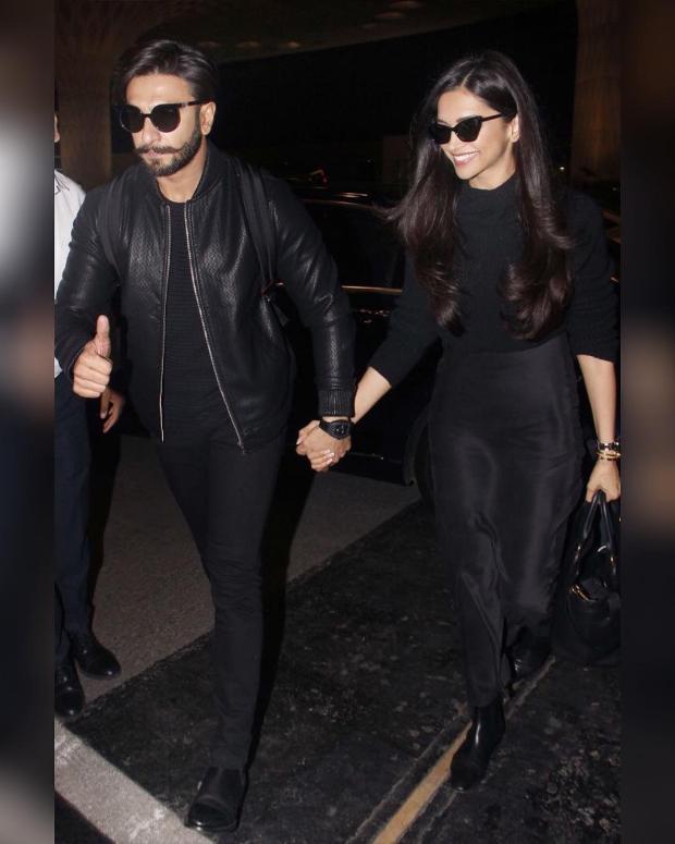 Deepika Padukone and Ranveer Singh twinning in black at the airport (3)