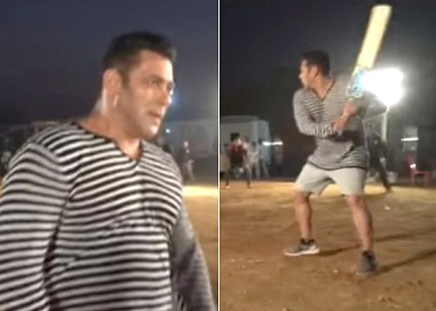 Bharat Salman Khan enjoys a game of cricket while shooting the film